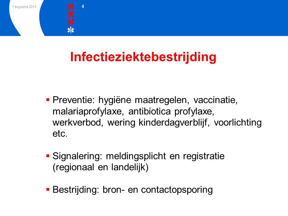 1 augustus 2014 4 Infectieziektebestrijding  Preventie: hygiëne maatregelen, vaccinatie, malariaprofylaxe, antibiotica profylaxe, werkverbod, wering