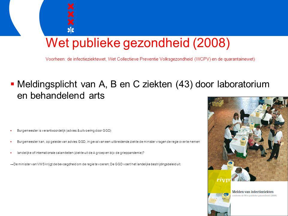 Wet publieke gezondheid (2008) Voorheen: de infectieziektewet, Wet Collectieve Preventie Volksgezondheid (WCPV) en de quarantainewet)  Meldingsplicht