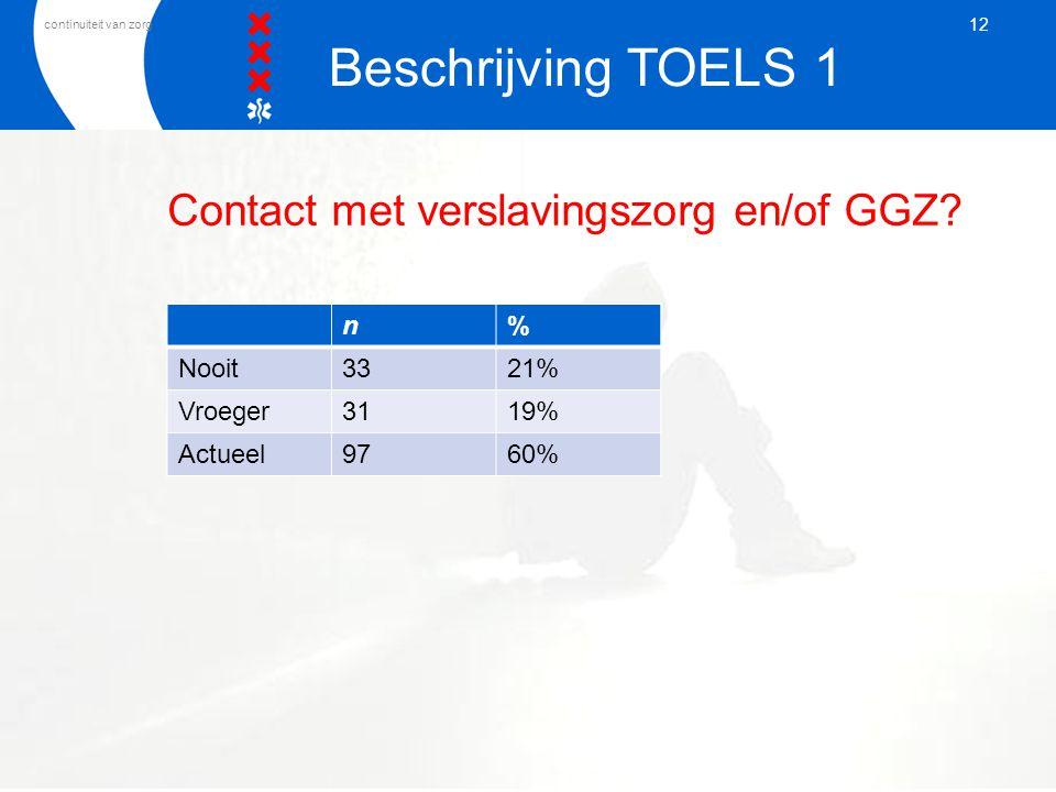 continuiteit van zorg Contact met verslavingszorg en/of GGZ? n% Nooit3321% Vroeger3119% Actueel9760% 12 Beschrijving TOELS 1