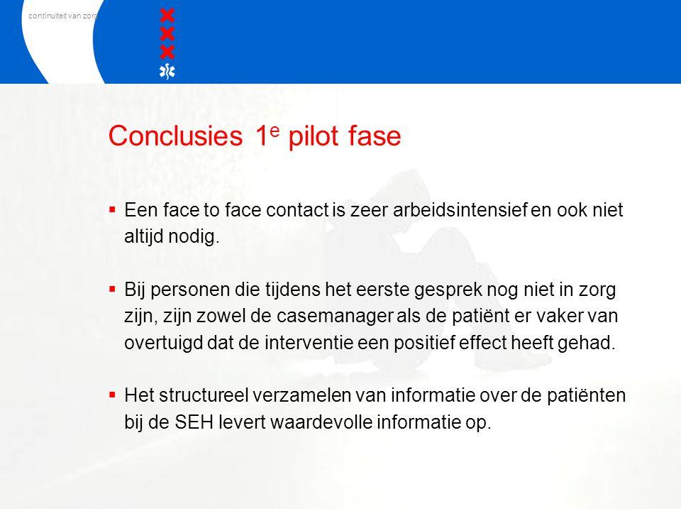 continuiteit van zorg Conclusies 1 e pilot fase  Een face to face contact is zeer arbeidsintensief en ook niet altijd nodig.  Bij personen die tijde