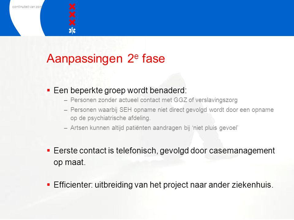 continuiteit van zorg Aanpassingen 2 e fase  Een beperkte groep wordt benaderd: –Personen zonder actueel contact met GGZ of verslavingszorg –Personen