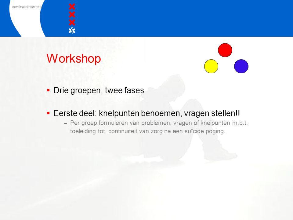 continuiteit van zorg Workshop  Drie groepen, twee fases  Eerste deel: knelpunten benoemen, vragen stellen!! –Per groep formuleren van problemen, vr