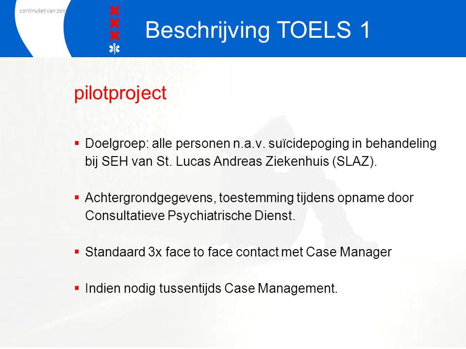 continuiteit van zorg pilotproject  Doelgroep: alle personen n.a.v. suïcidepoging in behandeling bij SEH van St. Lucas Andreas Ziekenhuis (SLAZ).  A