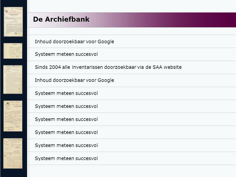De Archiefbank Sinds 2004 alle inventarissen doorzoekbaar via de SAA website Inhoud doorzoekbaar voor Google Systeem meteen succesvol Inhoud doorzoekb