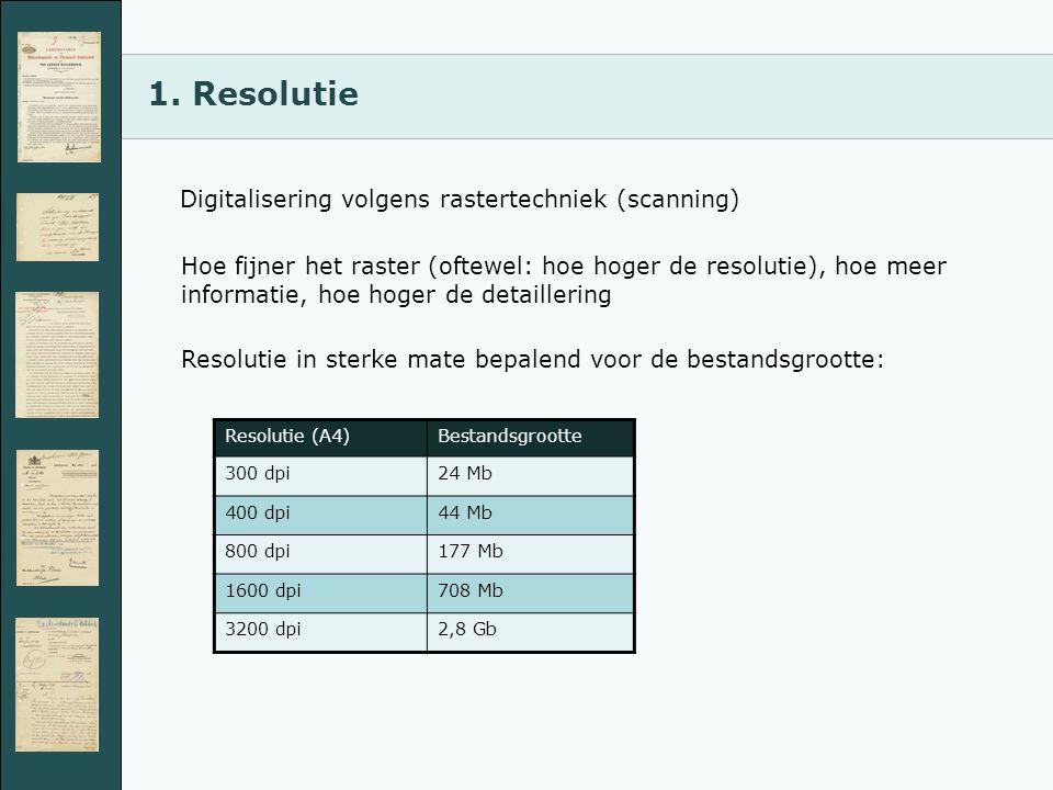 1. Resolutie Digitalisering volgens rastertechniek (scanning) Hoe fijner het raster (oftewel: hoe hoger de resolutie), hoe meer informatie, hoe hoger