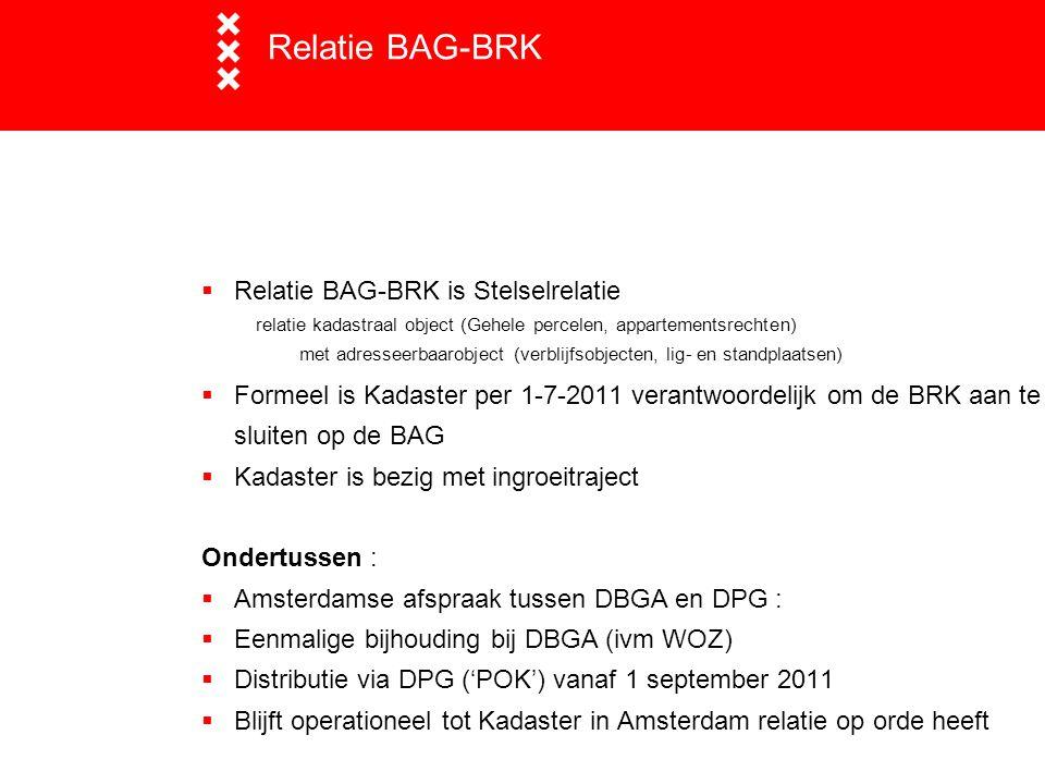 Relatie BAG-BRK  Relatie BAG-BRK is Stelselrelatie relatie kadastraal object (Gehele percelen, appartementsrechten) met adresseerbaarobject (verblijf