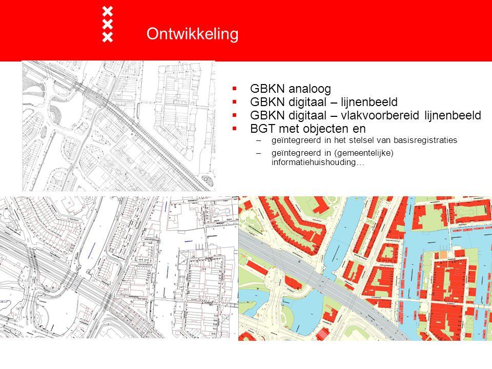  GBKN analoog  GBKN digitaal – lijnenbeeld  GBKN digitaal – vlakvoorbereid lijnenbeeld  BGT met objecten en –geïntegreerd in het stelsel van basis