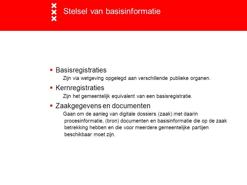 Relatie BAG-BRK  Relatie BAG-BRK is Stelselrelatie relatie kadastraal object (Gehele percelen, appartementsrechten) met adresseerbaarobject (verblijfsobjecten, lig- en standplaatsen)  Formeel is Kadaster per 1-7-2011 verantwoordelijk om de BRK aan te sluiten op de BAG  Kadaster is bezig met ingroeitraject Ondertussen :  Amsterdamse afspraak tussen DBGA en DPG :  Eenmalige bijhouding bij DBGA (ivm WOZ)  Distributie via DPG ('POK') vanaf 1 september 2011  Blijft operationeel tot Kadaster in Amsterdam relatie op orde heeft