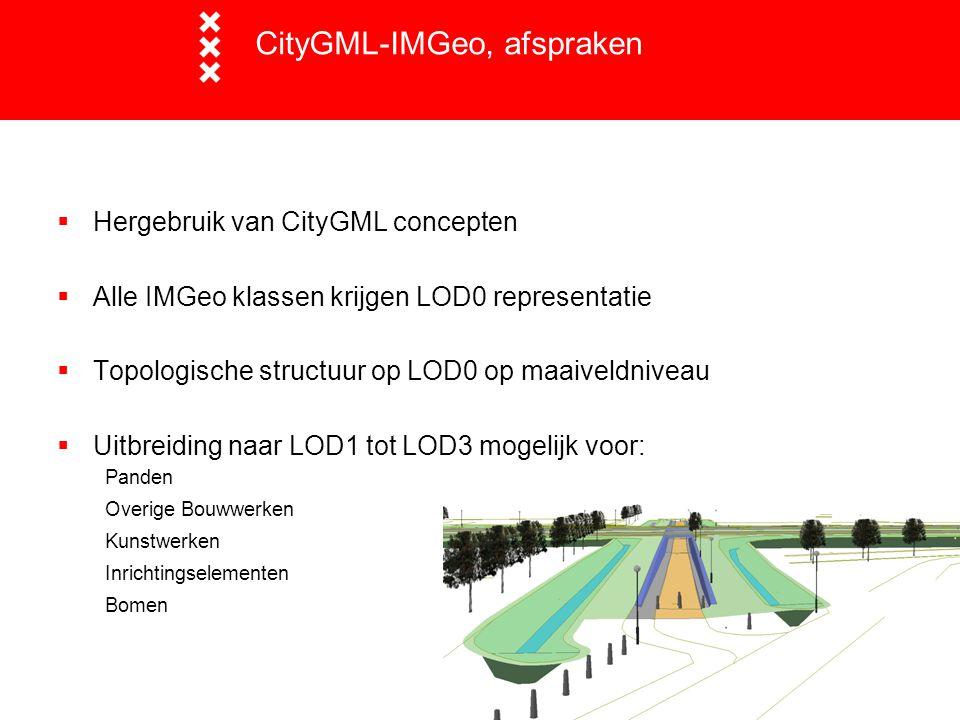 CityGML-IMGeo, afspraken  Hergebruik van CityGML concepten  Alle IMGeo klassen krijgen LOD0 representatie  Topologische structuur op LOD0 op maaive