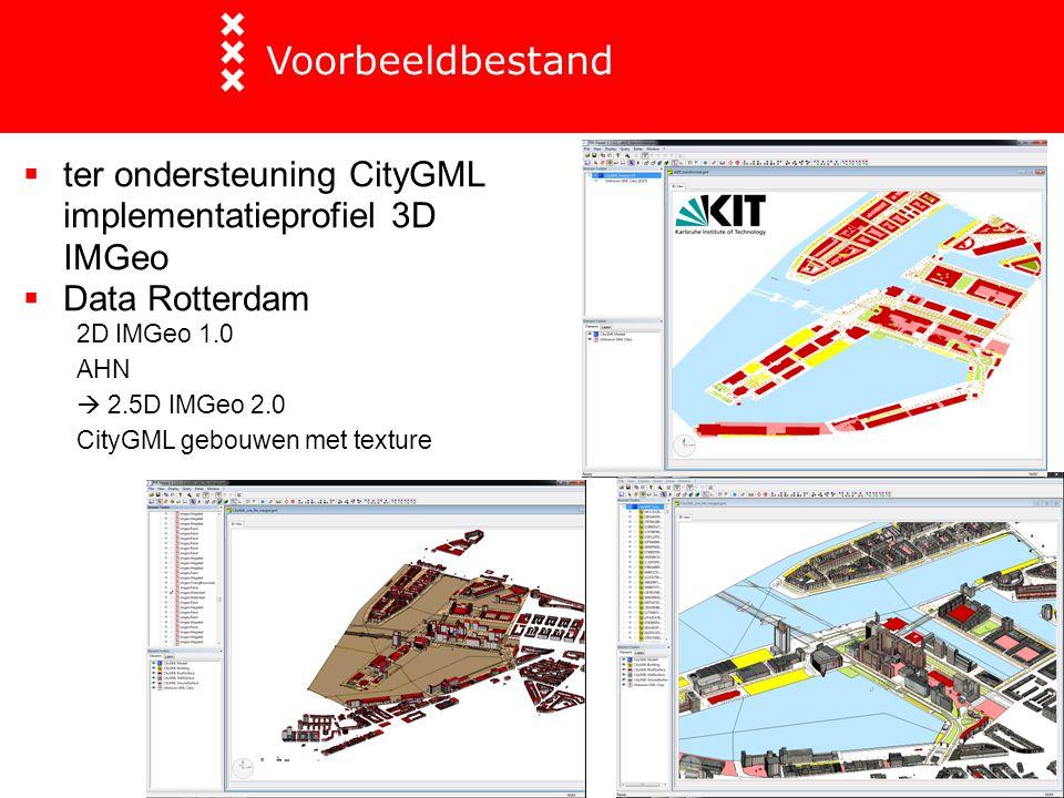  ter ondersteuning CityGML implementatieprofiel 3D IMGeo  Data Rotterdam 2D IMGeo 1.0 AHN  2.5D IMGeo 2.0 CityGML gebouwen met texture Voorbeeldbes