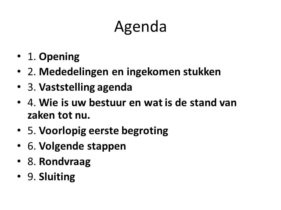 Agenda 1. Opening 2. Mededelingen en ingekomen stukken 3. Vaststelling agenda 4. Wie is uw bestuur en wat is de stand van zaken tot nu. 5. Voorlopig e