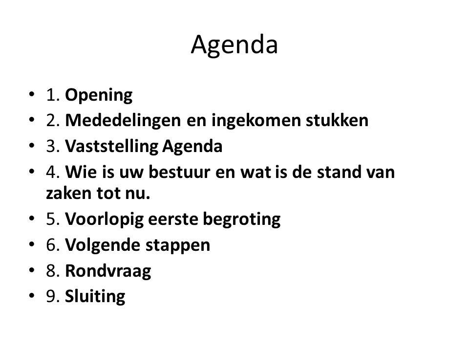 Agenda 1.Opening 2. Mededelingen en ingekomen stukken 3.