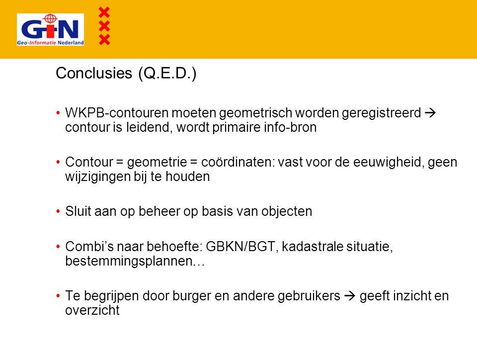 Conclusies (Q.E.D.) WKPB-contouren moeten geometrisch worden geregistreerd  contour is leidend, wordt primaire info-bron Contour = geometrie = coördi