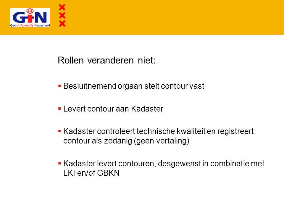 Rollen veranderen niet:  Besluitnemend orgaan stelt contour vast  Levert contour aan Kadaster  Kadaster controleert technische kwaliteit en registr