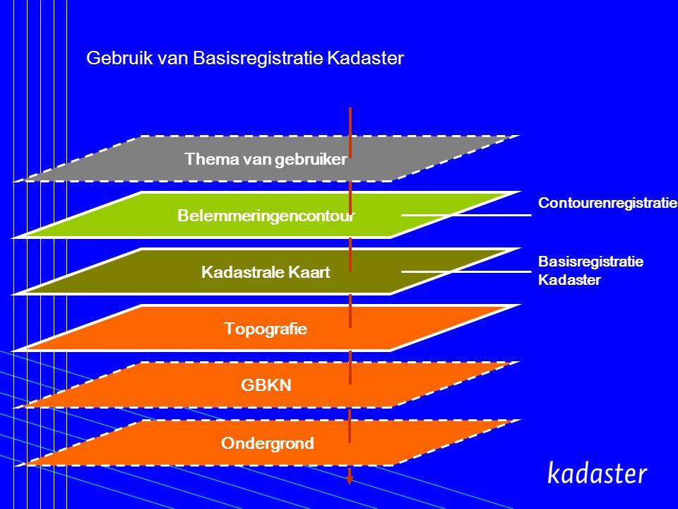 Gebruik van Basisregistratie Kadaster GBKN Topografie Kadastrale Kaart Belemmeringencontour Thema van gebruiker Contourenregistratie Basisregistratie Kadaster Ondergrond