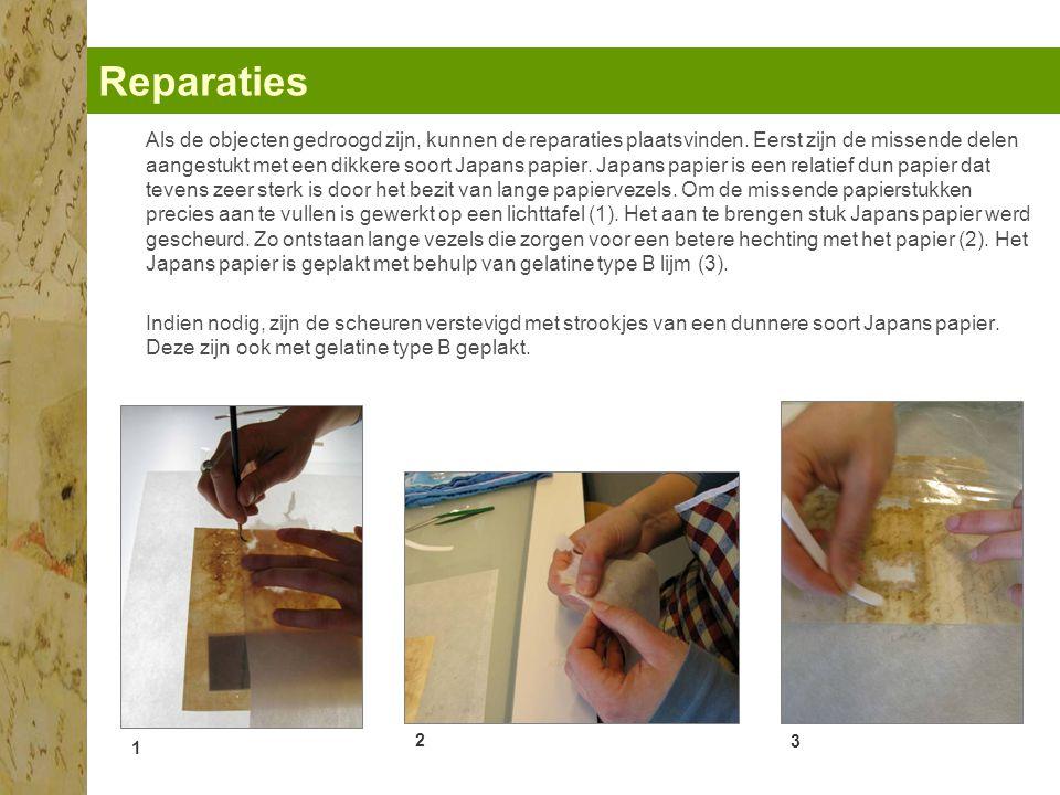 Reparaties 1 2 3 Als de objecten gedroogd zijn, kunnen de reparaties plaatsvinden.