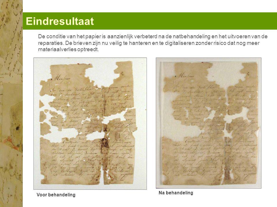 Eindresultaat Voor behandeling Na behandeling De conditie van het papier is aanzienlijk verbeterd na de natbehandeling en het uitvoeren van de reparaties.
