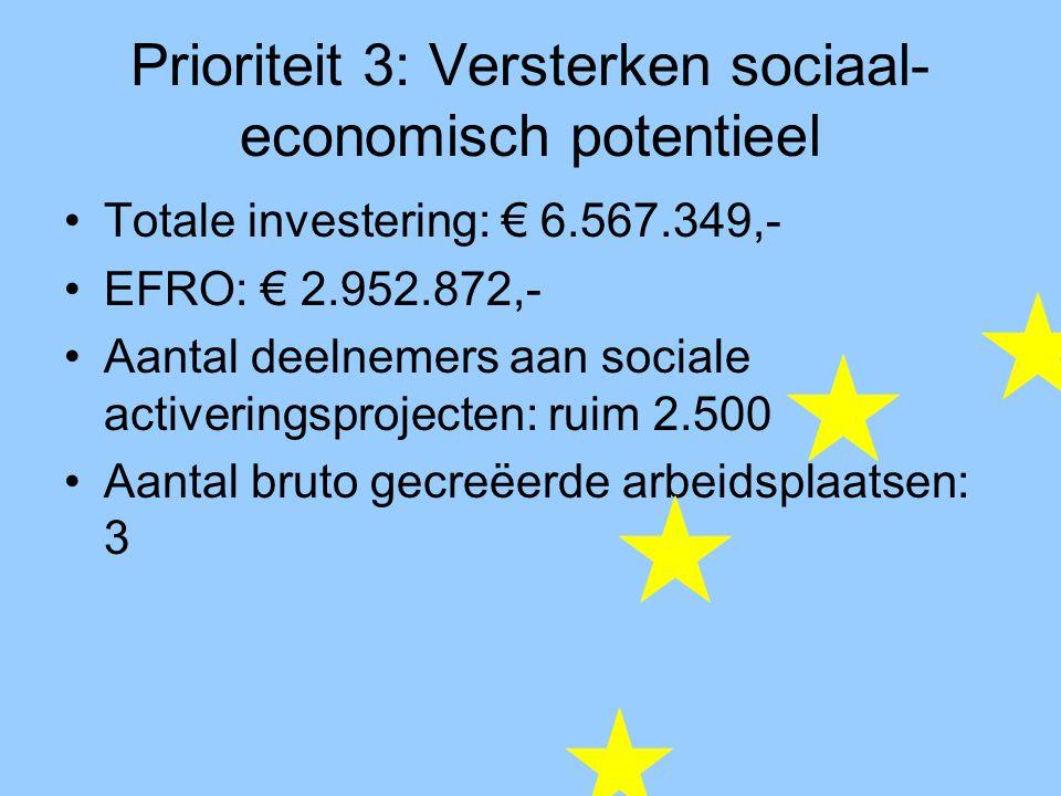 Prioriteit 3: Versterken sociaal- economisch potentieel Totale investering: € 6.567.349,- EFRO: € 2.952.872,- Aantal deelnemers aan sociale activeringsprojecten: ruim 2.500 Aantal bruto gecreëerde arbeidsplaatsen: 3