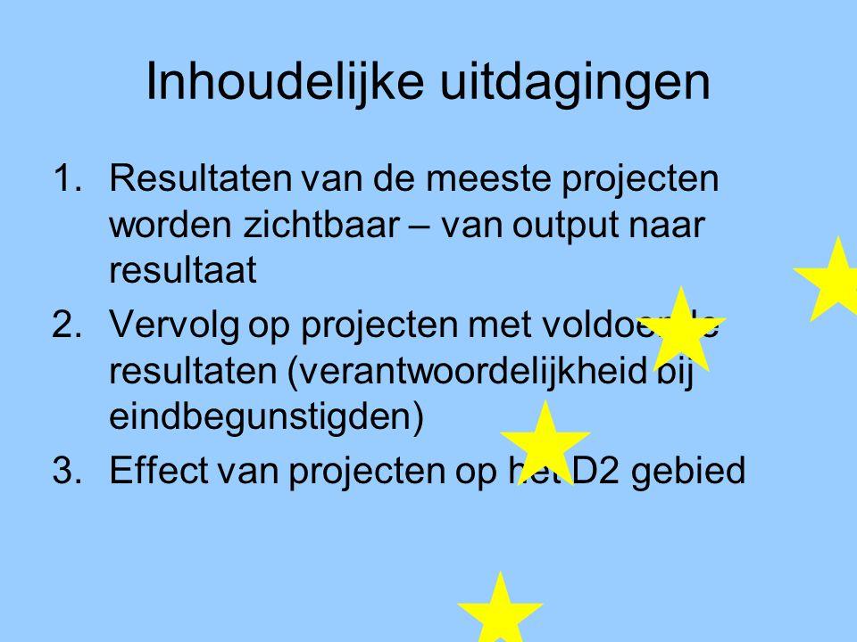 Inhoudelijke uitdagingen 1.Resultaten van de meeste projecten worden zichtbaar – van output naar resultaat 2.Vervolg op projecten met voldoende resultaten (verantwoordelijkheid bij eindbegunstigden) 3.Effect van projecten op het D2 gebied