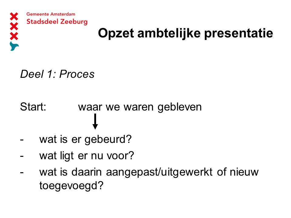 Opzet ambtelijke presentatie Deel 1: Proces Start: waar we waren gebleven -wat is er gebeurd.