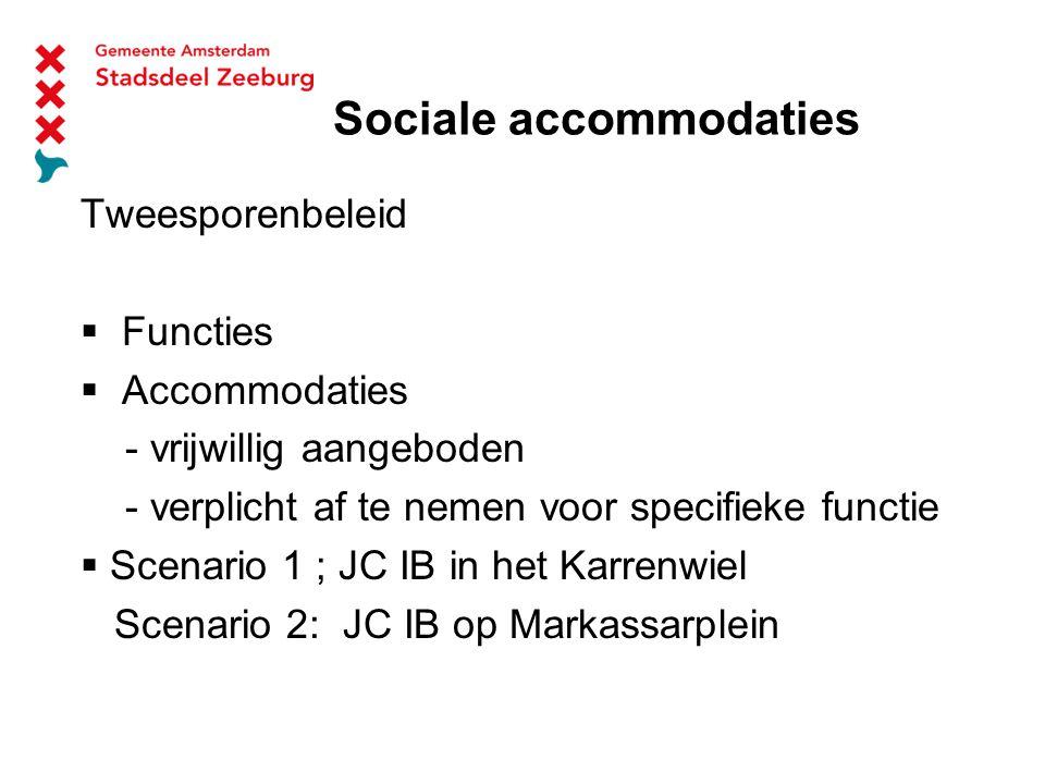 Sociale accommodaties Tweesporenbeleid  Functies  Accommodaties - vrijwillig aangeboden - verplicht af te nemen voor specifieke functie  Scenario 1 ; JC IB in het Karrenwiel Scenario 2: JC IB op Markassarplein