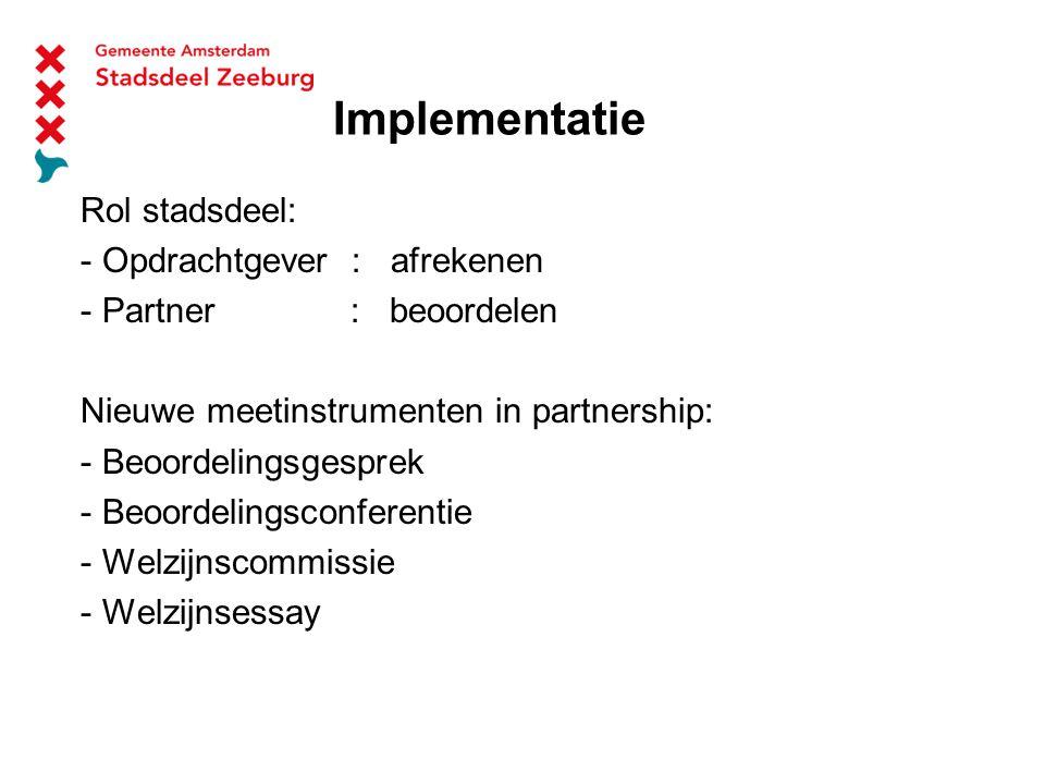 Implementatie Rol stadsdeel: - Opdrachtgever : afrekenen - Partner : beoordelen Nieuwe meetinstrumenten in partnership: - Beoordelingsgesprek - Beoordelingsconferentie - Welzijnscommissie - Welzijnsessay