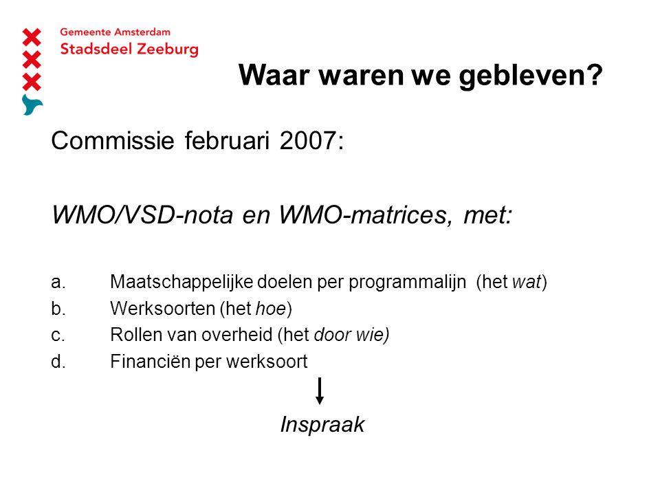 Waar waren we gebleven. Commissie februari 2007: WMO/VSD-nota en WMO-matrices, met: a.