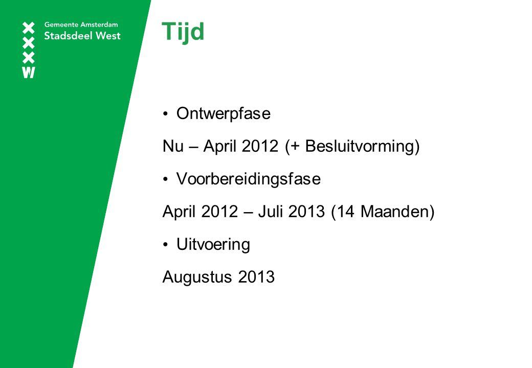 Tijd Ontwerpfase Nu – April 2012 (+ Besluitvorming) Voorbereidingsfase April 2012 – Juli 2013 (14 Maanden) Uitvoering Augustus 2013