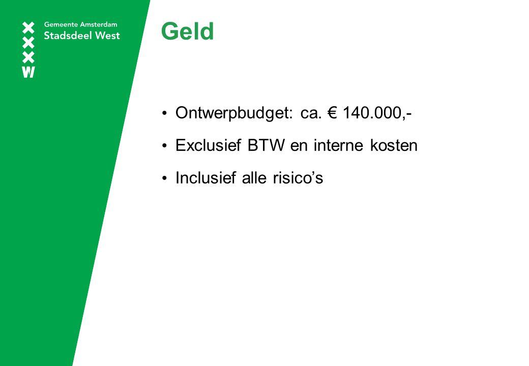 Geld Ontwerpbudget: ca. € 140.000,- Exclusief BTW en interne kosten Inclusief alle risico's