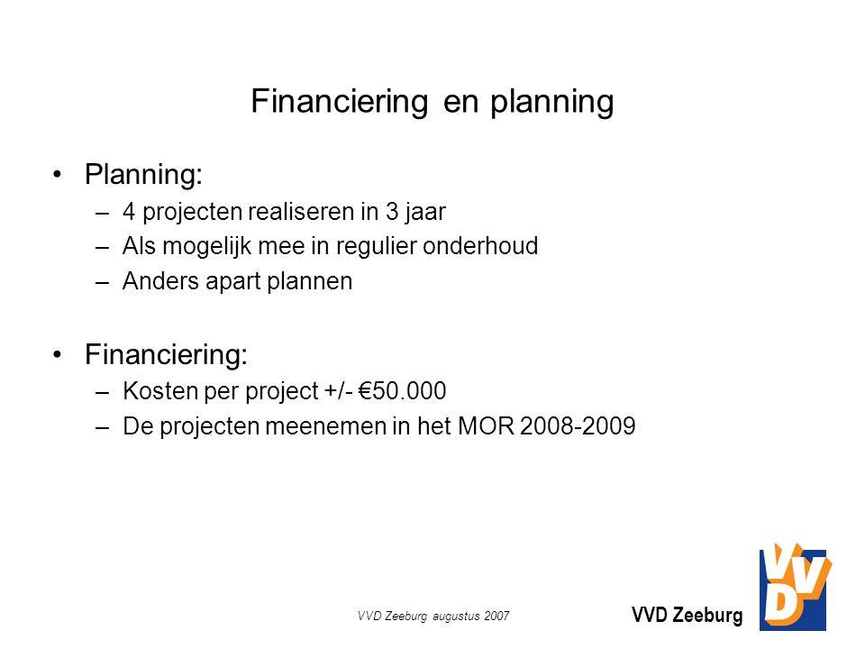 VVD Zeeburg VVD Zeeburg augustus 2007 Financiering en planning Planning: –4 projecten realiseren in 3 jaar –Als mogelijk mee in regulier onderhoud –Anders apart plannen Financiering: –Kosten per project +/- €50.000 –De projecten meenemen in het MOR 2008-2009