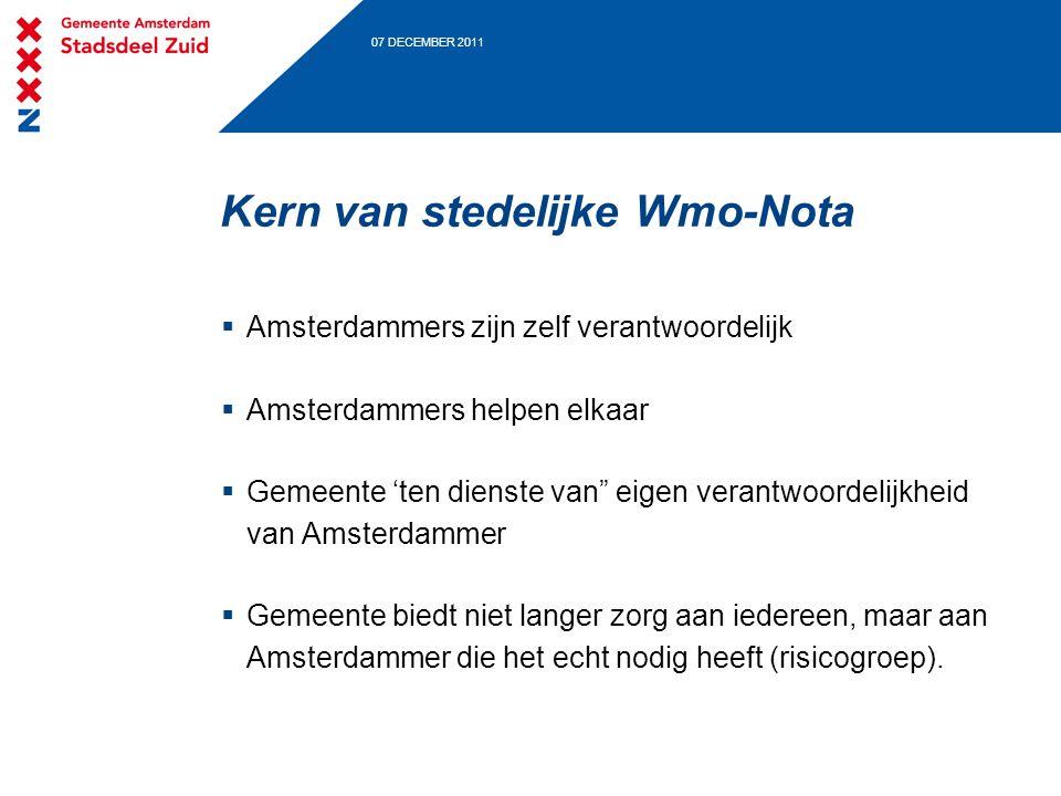 """07 DECEMBER 2011 Kern van stedelijke Wmo-Nota  Amsterdammers zijn zelf verantwoordelijk  Amsterdammers helpen elkaar  Gemeente 'ten dienste van"""" ei"""