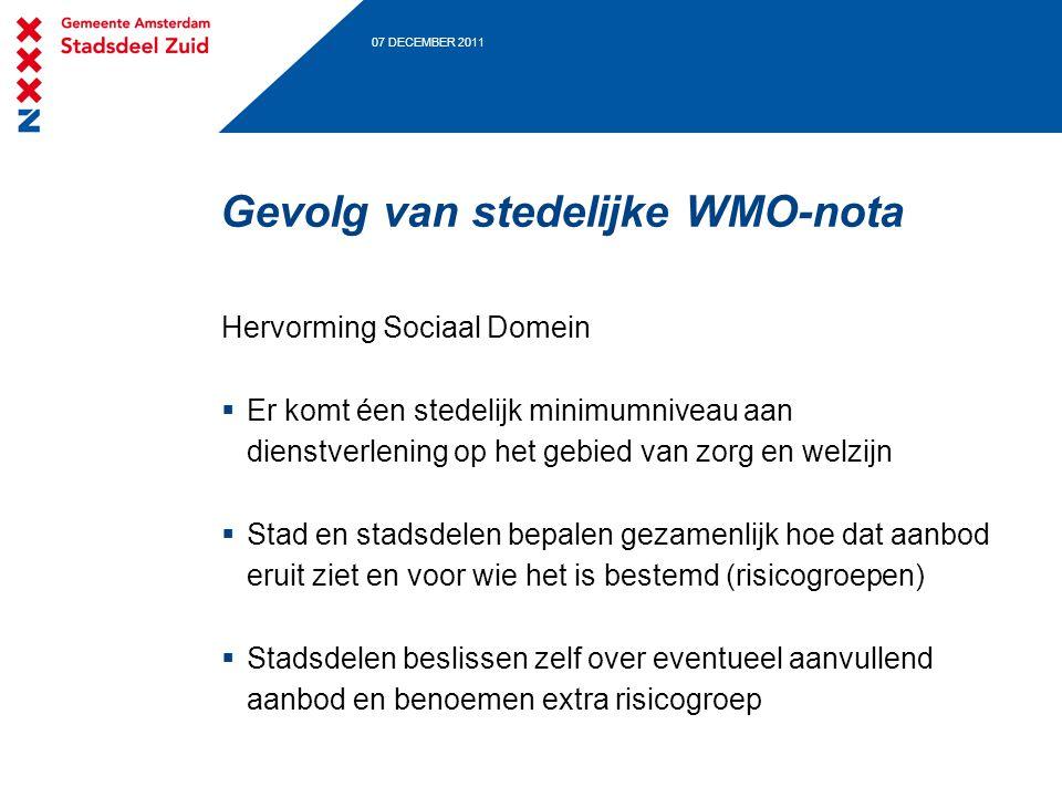 07 DECEMBER 2011 Gevolg van stedelijke WMO-nota Hervorming Sociaal Domein  Er komt éen stedelijk minimumniveau aan dienstverlening op het gebied van