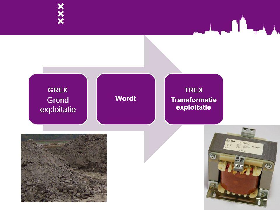 GREX Grondexploitat ie Wordt TREX Transformatie exploitatie Grond exploitatie