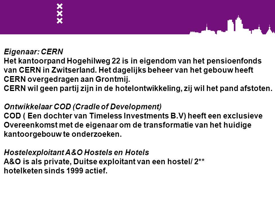 Eigenaar: CERN Het kantoorpand Hogehilweg 22 is in eigendom van het pensioenfonds van CERN in Zwitserland. Het dagelijks beheer van het gebouw heeft C