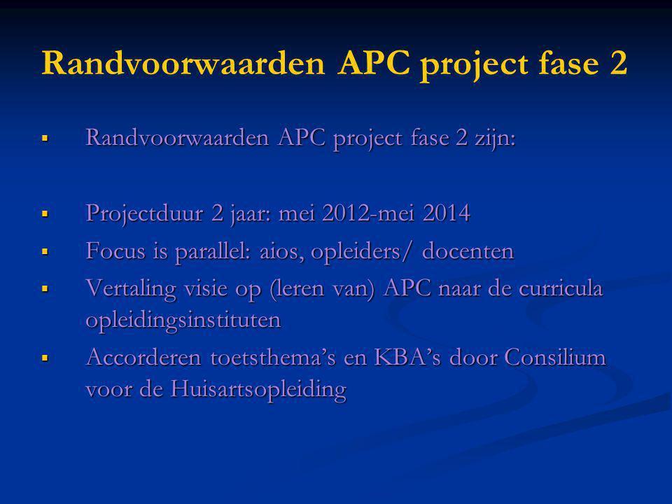Randvoorwaarden APC project fase 2  Randvoorwaarden APC project fase 2 zijn:  Projectduur 2 jaar: mei 2012-mei 2014  Focus is parallel: aios, oplei
