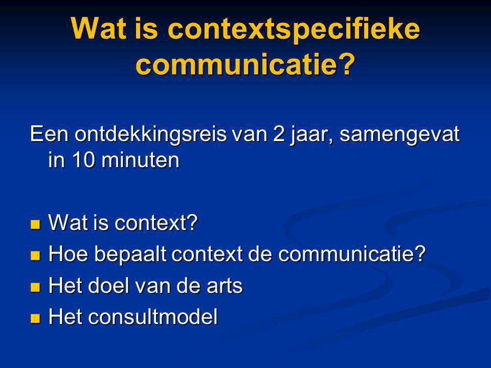Wat is contextspecifieke communicatie? Een ontdekkingsreis van 2 jaar, samengevat in 10 minuten Wat is context? Wat is context? Hoe bepaalt context de