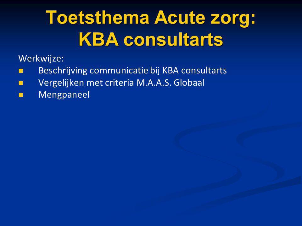 Toetsthema Acute zorg: KBA consultarts Werkwijze: Beschrijving communicatie bij KBA consultarts Vergelijken met criteria M.A.A.S. Globaal Mengpaneel