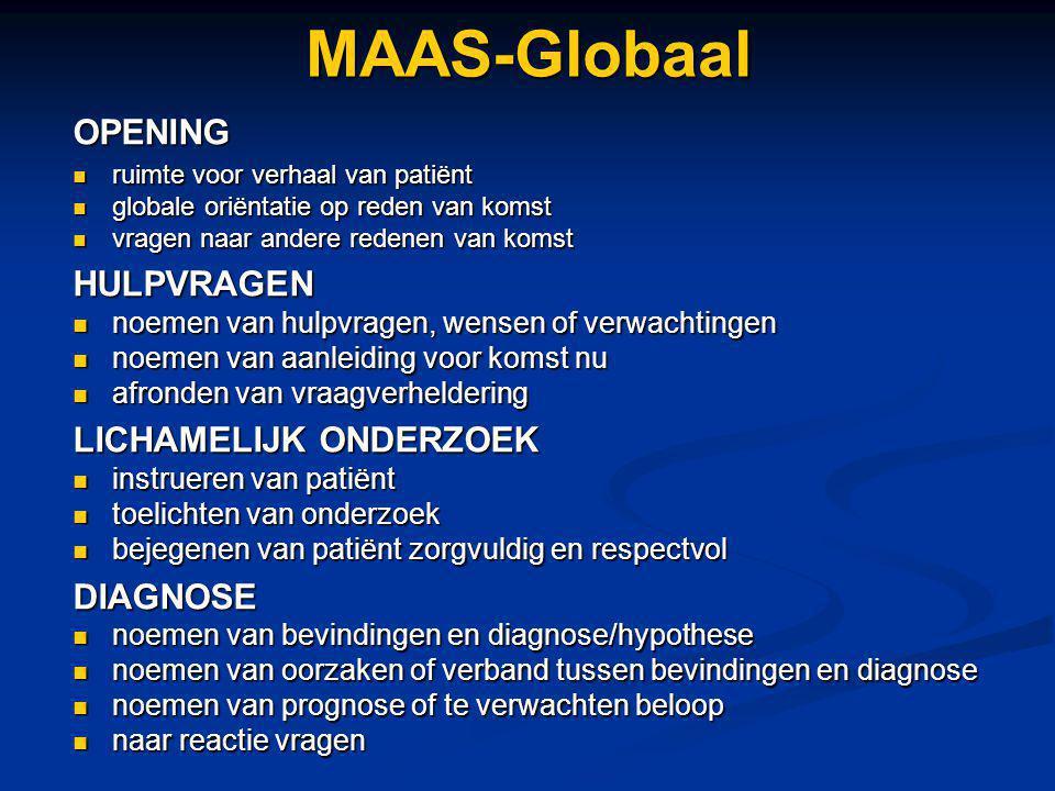 MAAS-GlobaalOPENING ruimte voor verhaal van patiënt ruimte voor verhaal van patiënt globale oriëntatie op reden van komst globale oriëntatie op reden