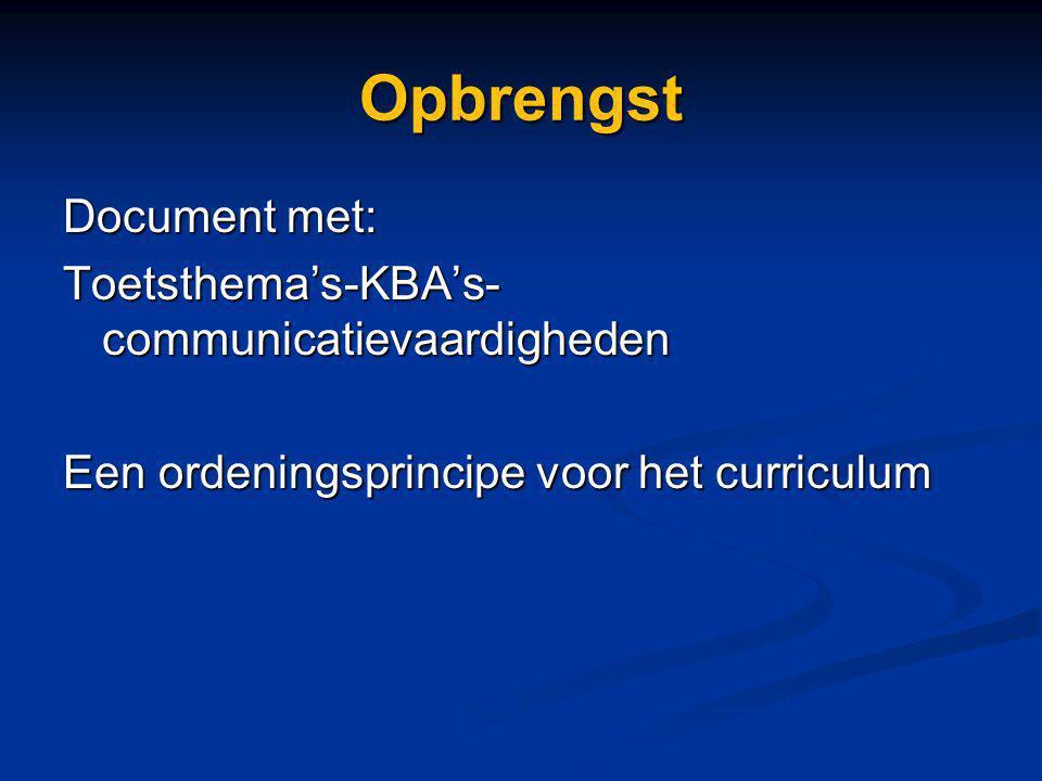 Opbrengst Document met: Toetsthema's-KBA's- communicatievaardigheden Een ordeningsprincipe voor het curriculum