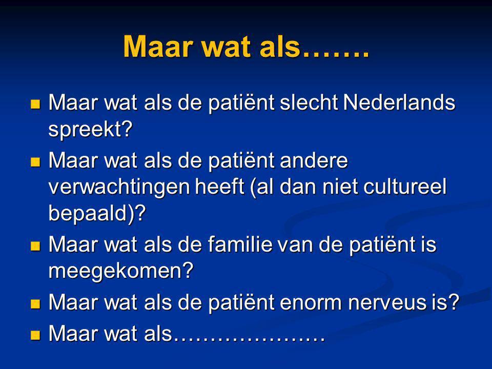 Maar wat als……. Maar wat als de patiënt slecht Nederlands spreekt? Maar wat als de patiënt slecht Nederlands spreekt? Maar wat als de patiënt andere v