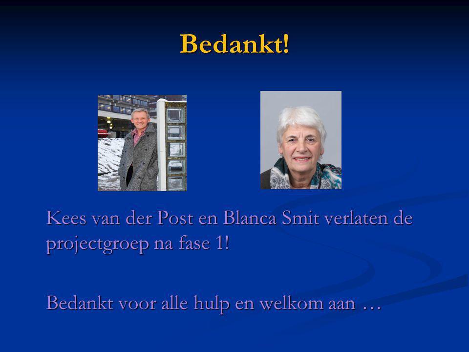 Bedankt! Kees van der Post en Blanca Smit verlaten de projectgroep na fase 1! Bedankt voor alle hulp en welkom aan …