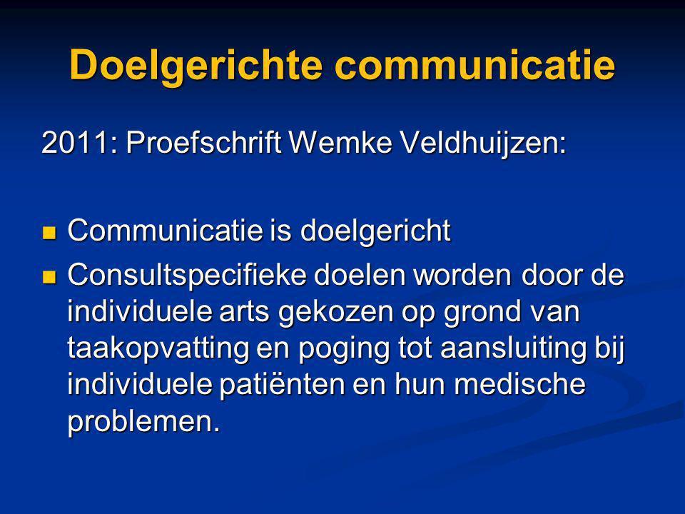 Doelgerichte communicatie 2011: Proefschrift Wemke Veldhuijzen: Communicatie is doelgericht Communicatie is doelgericht Consultspecifieke doelen worde