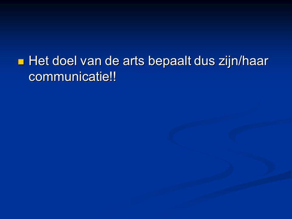 Het doel van de arts bepaalt dus zijn/haar communicatie!! Het doel van de arts bepaalt dus zijn/haar communicatie!!
