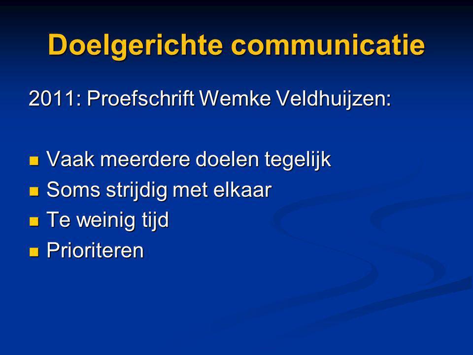Doelgerichte communicatie 2011: Proefschrift Wemke Veldhuijzen: Vaak meerdere doelen tegelijk Vaak meerdere doelen tegelijk Soms strijdig met elkaar S