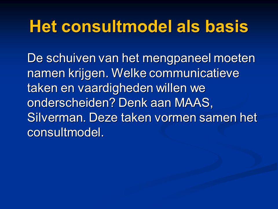 Het consultmodel als basis De schuiven van het mengpaneel moeten namen krijgen. Welke communicatieve taken en vaardigheden willen we onderscheiden? De