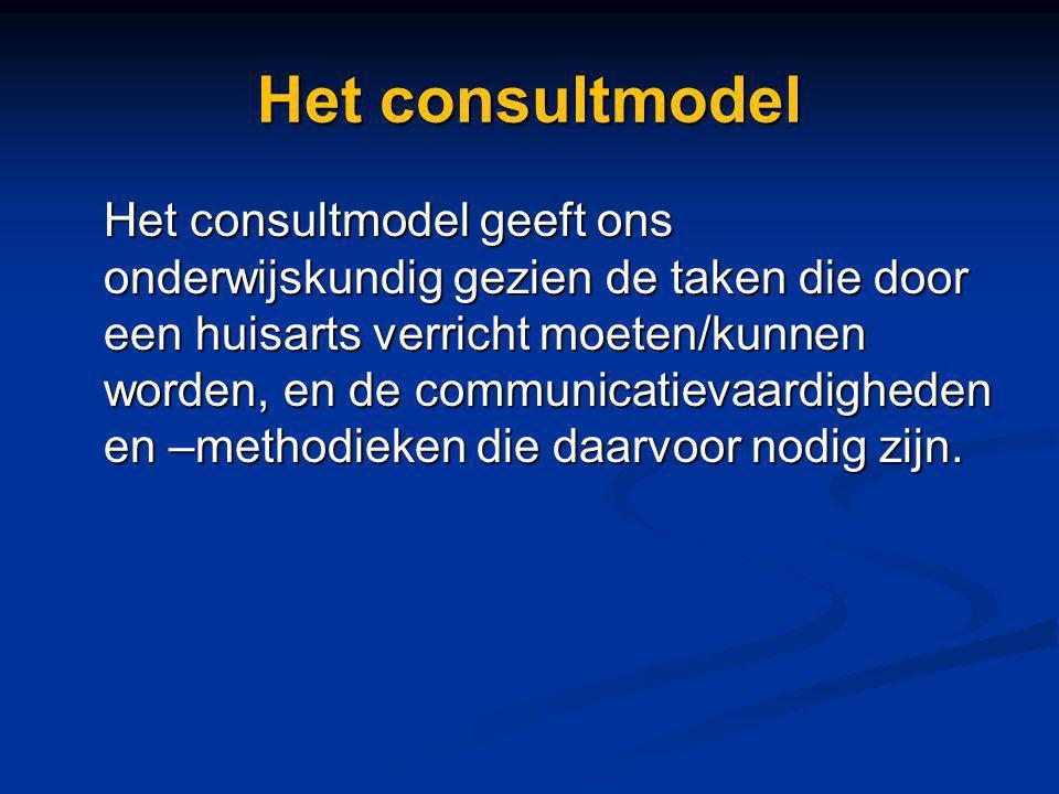 Het consultmodel Het consultmodel geeft ons onderwijskundig gezien de taken die door een huisarts verricht moeten/kunnen worden, en de communicatievaa
