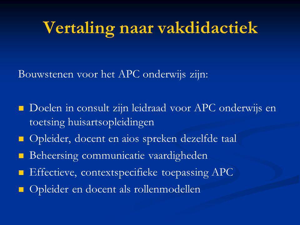 Vertaling naar vakdidactiek Bouwstenen voor het APC onderwijs zijn: Doelen in consult zijn leidraad voor APC onderwijs en toetsing huisartsopleidingen