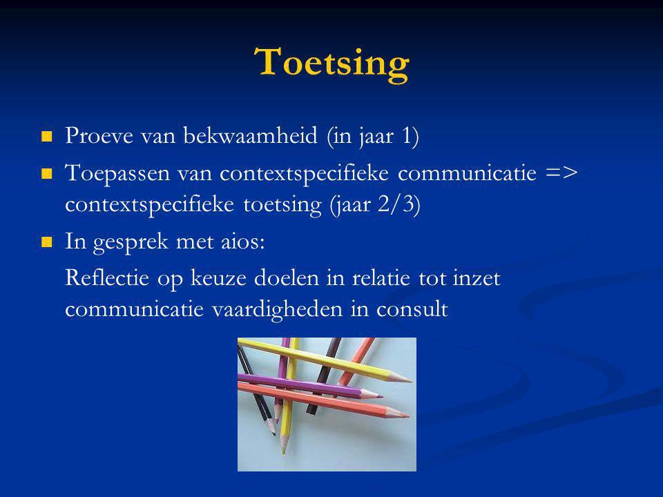 Toetsing Proeve van bekwaamheid (in jaar 1) Toepassen van contextspecifieke communicatie => contextspecifieke toetsing (jaar 2/3) In gesprek met aios:
