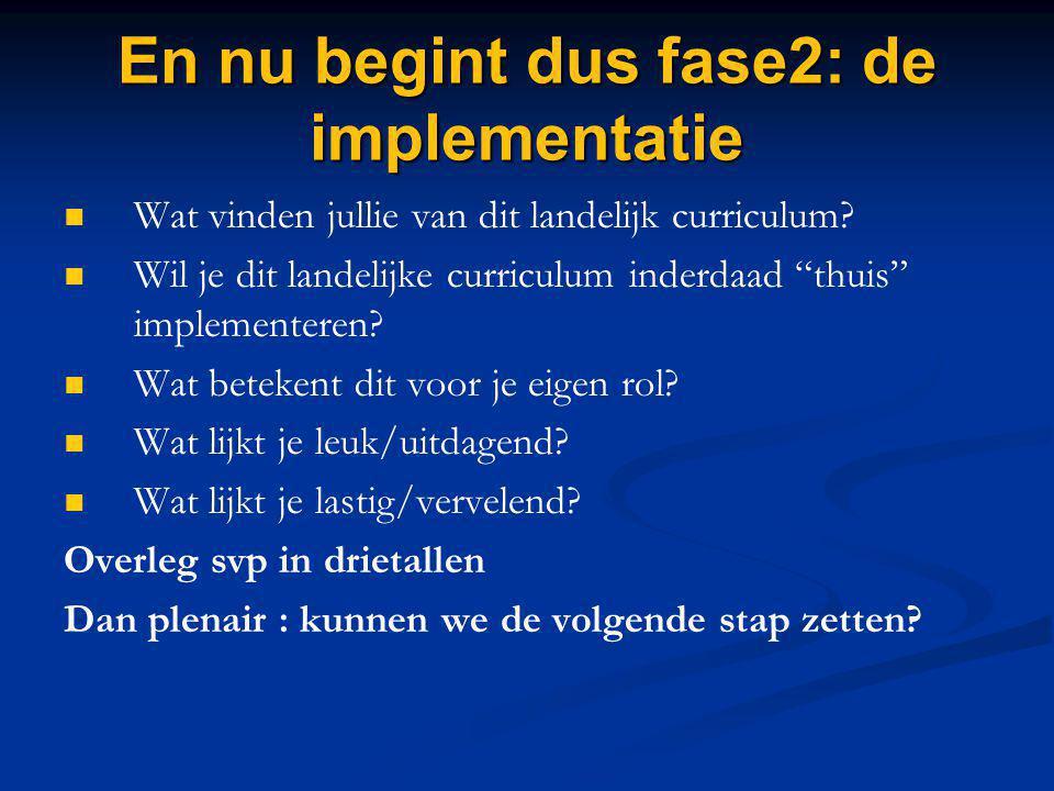 """En nu begint dus fase2: de implementatie Wat vinden jullie van dit landelijk curriculum? Wil je dit landelijke curriculum inderdaad """"thuis"""" implemente"""