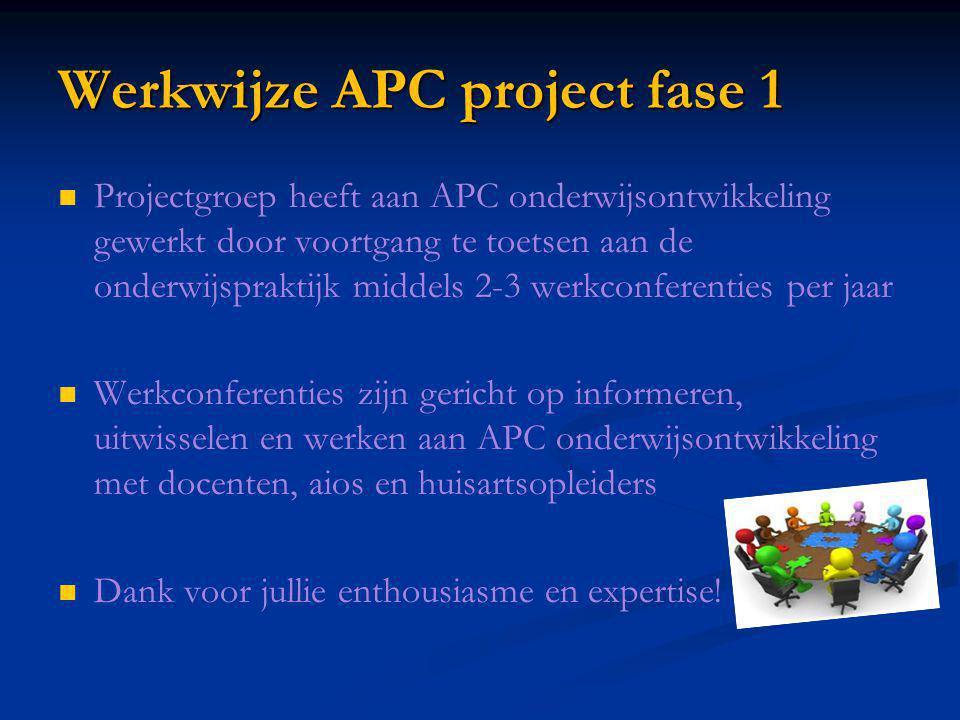 Werkwijze APC project fase 1 Projectgroep heeft aan APC onderwijsontwikkeling gewerkt door voortgang te toetsen aan de onderwijspraktijk middels 2-3 w
